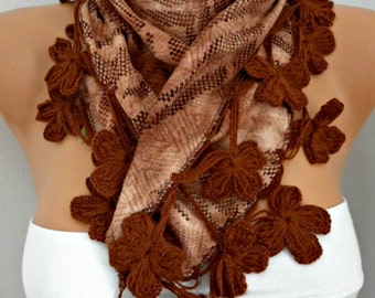 Earth Tones - Brown Floral Scarf,Fall Winter Scarf,Bohemian,Valentine's,Holiday Gift,Women Scarves