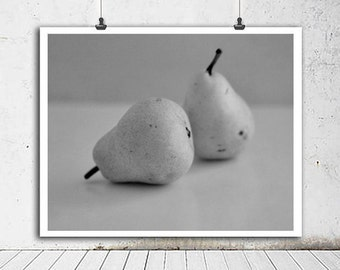Food art print, black and white kitchen photography, pear print fruit still life minimalist art, grey kitchen art print modern kitchen decor