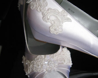 Wedding Shoes Wedge Shoes Bridal Wedges with Lace Dyeable Shoes Pick Your color