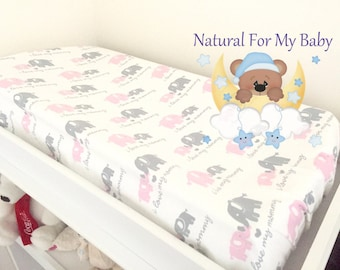 Flannel Elephants Contoured Changing Pad Cover 100% Flannel Cotton Nursery Baby Changing Pad Covering