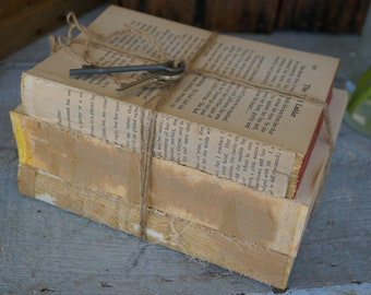 Antique Coverles Stacked Books, Farmhouse Decor, Vintage Coverless Books, Bookworm for her, Skeleton Key, Unbound Books, French Country