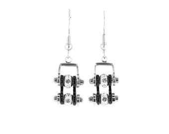 MINI Two Tone Silver Black With Crystal Centers Bike Chain Earrings Stainless Steel Motorcycle Biker Jewelry