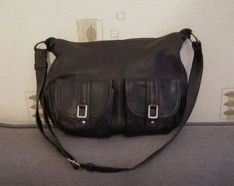Handmade Leather Bag black/bag/Vintage Eighties/bag in Rossi/antiquityfrench/Woman Leather Bag/leather satchel/Rossi Bohemian