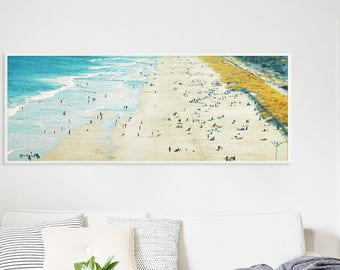 Beach Photography // Extra Large Beach Print // New Jersey Shore Beach Photography // Aqua Blue Waters and Miles of Sand for a Modern Home