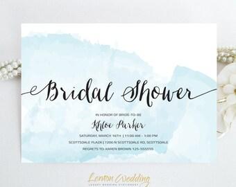Beach bridal shower etsy elegant bridal shower invitation beach wedding shower party watercolor invites printed on luxury cardstock engagement invites filmwisefo