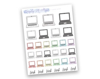 Laptop - Rainbow Collection | Planner Stickers for Erin Condren Vertical Life Planner