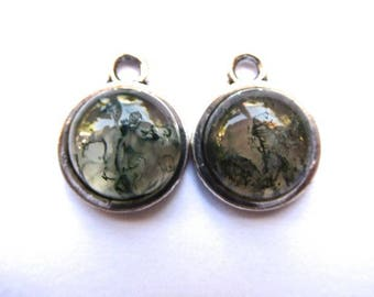 Green agate pendant on support metal chamare silver 12 mms in diameter