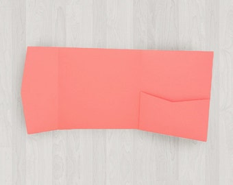 10 Square Pocket Enclosures - Coral & Peach - DIY Invitations - Invitation Enclosures for Weddings and Other Events