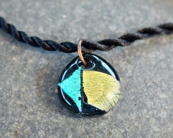 Dichroic Glass Pendant Boro Lampwork on Braided Satin Cord - Aqua Yellow