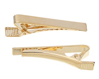 1 Tie Bar - Gold Plated - 44x8mm - Mens Fashion Necktie Clip - COPPER Material - Ships IMMEDIATELY from California - A580