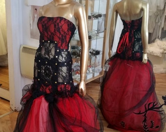 Handmade Unique, Theatrical Costume, Gothic Style, Victorian, Renaissance, One of Kind, Hot Royal Art to Wear, Black and Red, Wearable Art