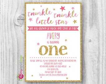 Invitations etsy ca twinkle twinkle little star first birthday invitation pink and gold glitter diy digital file pdf or jpeg stopboris Choice Image