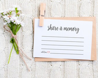 Share a Memory Card, Memory Cards, Share a memory printable, memorial card, Keepsake, Funeral memory card, PDF, Instant Download