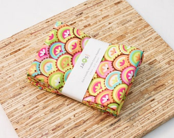 Large Cloth Napkins - Set of 4 - (N4157) - Colorful Fanfare Modern Reusable Fabric Napkins