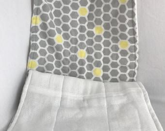 Grey and Yellow Honeycomb Burp Cloth Set of 2
