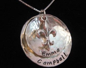 Hand Stamped Necklace - Mothers Necklace - Fleur de Lis Necklace