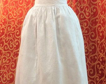 "1900's, 36"" waist front, white lawn cotton apron wide waistband"