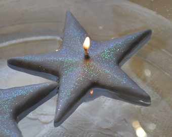 Silver Shimmering Star floating candles set of 12