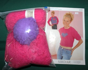 3 Skeins of 50 Grams Each of Sirdar Snowflake Polyester Yarn in Pink and One Skein of Purple With Pattern