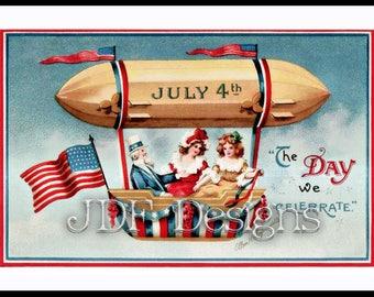 Instant Digital Download, Vintage Edwardian Graphic, Ellen Clapsaddle Patriotic Blimp, Uncle Sam, Americana American Flag, July 4th Postcard
