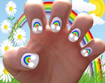 Rainbow // Clouds // Colorful // Gay Pride //  Magical // Fantasy // Spring // Summer  Nail Decals Transfer Nail Stickers