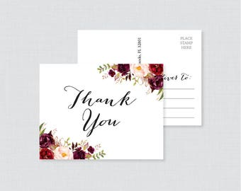 Printable OR Printed Wedding Thank You Postcards - Marsala and Pink Floral Thank You Postcards for Wedding, Rustic Flower Thank You 0006