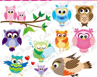 Polka dot Owls Digital Clipart/ 10 Cute Animals clipart /Owl Graphic/Owl Clipart/ cute baby owl / INSTANT DOWNLOAD