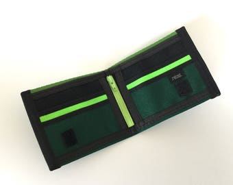 Green Seatbelt Wallet with Coin Pocket