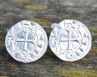 Handcast Fine Pewter Knights Templar Cufflinks By William Sturt