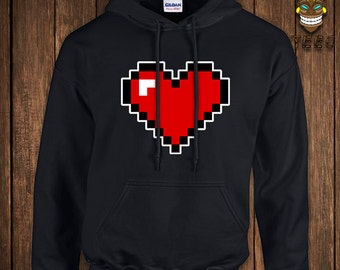 Funny Video Game Hoodie 8-Bit Heart Geek Arcade Hooded Sweater Gift For Geek Sweatshirt Nerd Gamer Retro Old School College Humor Nerd