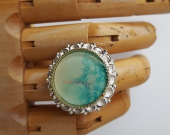 Ornate Sterling Silver Plated Pewter Resin Ring with Tree Painting