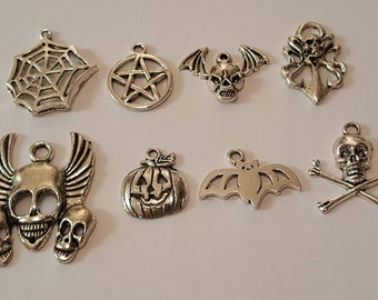Goth Charm Selection/8 Charms/Jewellery Making/Halloween/Arts&Crafts
