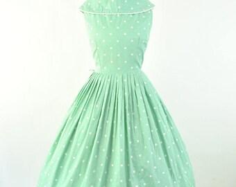 "1950's mint green polka dot dress standing collar sundress sz S  ( B 34"" W 25"" ) Vintage 50's Spring party dress cowl neck, bow, full skirt"