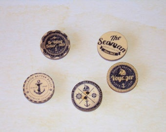 Wooden Nautical Magnets, Set of 5,