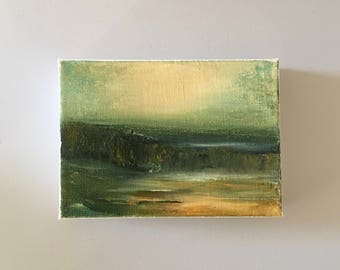 Green Gold Marsh-  Original Painting- 5 x 7 Stretched Canvas- Thick 1-1/2 inch edge- Ready to Hang