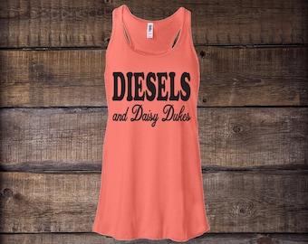 Diesels and Daisy Dukes Tank Top, Women's Flowy Racerback Tank Top, womens tanks, womens clothing, shirts, tanks and tees, Tank tops, tanks