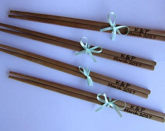 Chopstick with Bow, Personalized Bamboo Chopsticks, Wedding Favor Chopsticks, Wedding favor, Shower Gift, Min. Order 5pair
