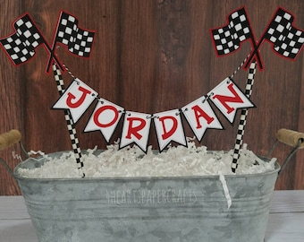 Race Car Cake Bunting,  Racing Cake Topper,  Cake Smash