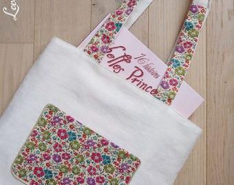 Tote bag kids linen and liberty, tote bag girl or teen - Childs tote bag - Kids tote bag