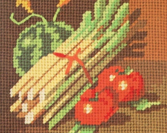 Beginner Needlepoint Kit - Sunset Designs Asparagus Tomato Jiffy Pattern - Beginner, Small Printed Color Canvas, Wool Yarn - Square 5 x 5