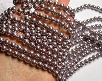 Pearl  - 8 mm round - lavender Pearl - 1 full strand - 48 beads - SPT32 - Shell pearl