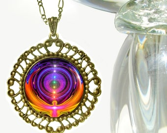 "Rainbow Chakra Jewelry, Reiki Pendant Necklace ""Chakra Alignment"""