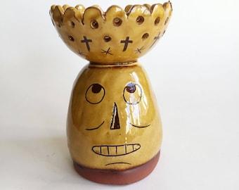 Slipware Pottery Skull Candle Holder