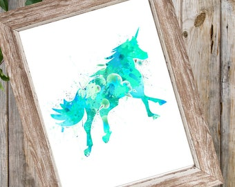 Watercolor Unicorn, Unicorn Sign, Unicorn Print, Printable Watercolor Print, Unicorn Wall Art, Turquoise Blue Print, Instant Download