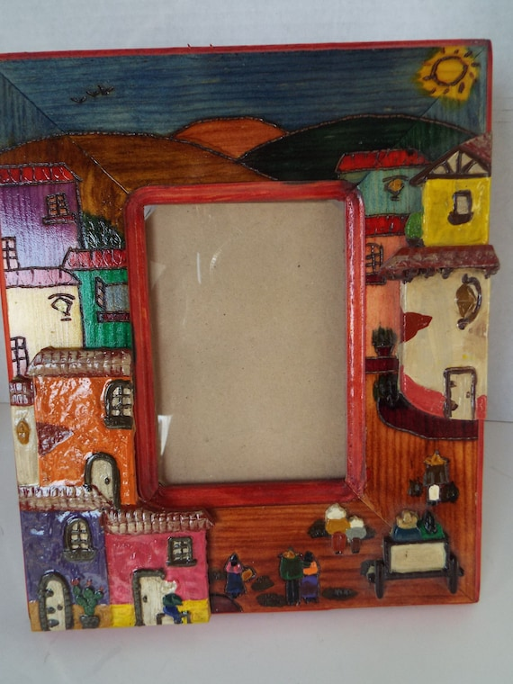 9x10 Mexican folk art painting frame Mexican terra cotta clay Adobes ...