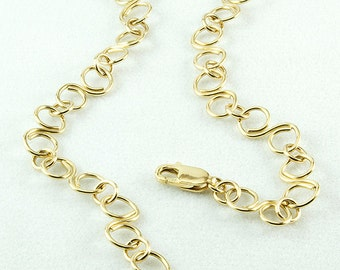 Chain Anklet, Chain Ankle Bracelet, 14k Gold Filled, Handmade Metal Chain, Large S Link Chain