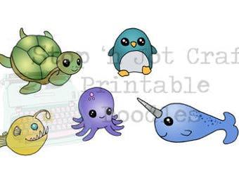 Sea Creatures Full Size Printable Sticker Sheet