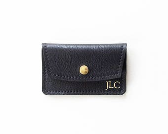 Monogrammed Credit Card Wallet, Personalized Leather Card Wallet, ID Holder, Business Card Wallet, Gift Card Presenter, Metro Card Pouch
