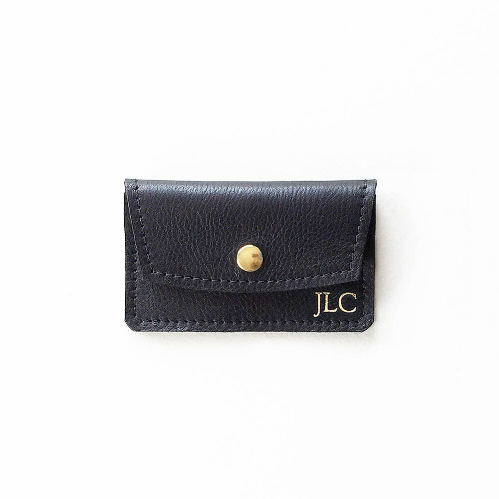 Monogrammed Credit Card Wallet Personalized Leather Card