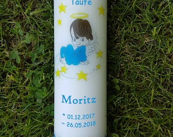 Taufkerze or name celebration candle with guardian angel Boy